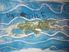 Pour cloturer notre travail sur les reptiles, nous avons étudié le crocodile. * Des fiches : Chez Lutin bazar Chez Véro à l'école * Un art visuel : Pour le fond, peindre un plateau en plastique ave...