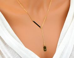 Gold Y Necklace, Initial Tag Necklace, Lariat Necklace, Gold Initial Necklace, Bar Necklace, Monogram Necklace, Simple Y Necklace by malizbijoux. Explore more products on http://malizbijoux.etsy.com