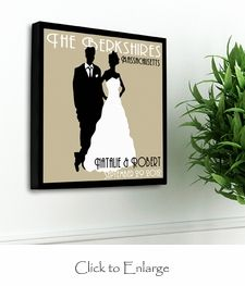 A unique gift for the newly-married couple or the couple married for 50 years, our Personalized Couples Studio Canvas print is a vintage poster inspired print is a great addition to any wall. The classic background color choices are the perfect backdrop for the bride and groom silhouette figures that are the centerpiece of this print. http://www.daisy-days.com/personalized-couples-studio-canvas.html