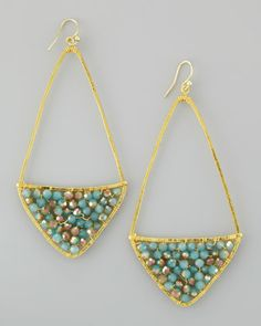 Beaded Kite Hoop Earrings, Turquoise by Nakamol at Neiman Marcus.