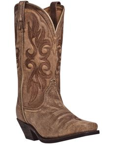 "Laredo Womens Tan Crackle Goat Leather Maricopa 11"" Cowboy Boots"