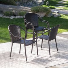 Coral Coast Berea Outdoor Wicker Stackable Chairs - Set of 4 | from hayneedle.com