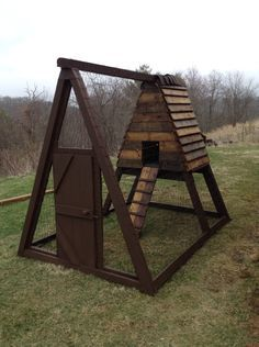 Chicken coop I made out of an old swing set.