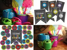 Garden items from the dollar store with a garden chalkboard theme just for the chalkboards! Garden Theme Classroom, Teacher Classroom Decorations, Classroom Setting, Classroom Setup, School Classroom, Classroom Organization, Kindergarten Classroom, Clean Classroom, Classroom Environment