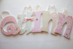 Shabby Chic Pink and Green Nursery Letters by Display Your Heart on @Etsy