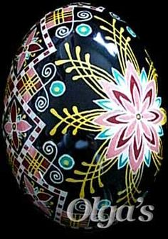 Duck Pysanky with Ancient Ukrainian Symbols and Traditional Design Elements