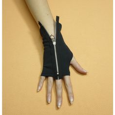 Black Gloves with Metal Zipper, Gothic and Cyber Style Armwarmers,... ($23) ❤ liked on Polyvore featuring accessories, gloves, goth gloves, sleeve gloves, gothic fingerless gloves, punk gloves and punk rock gloves