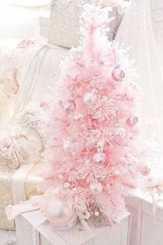 Pink is the new fashion color for Christmas, so manufacturers are coming out with all kinds of Christmas decorations in pink. In fact, you can even get your hands on a pink Christmas tree along with pink lights, stockings, and… Continue Reading → Pink Christmas Tree Decorations, Mini Christmas Tree, Christmas Colors, White Christmas, Christmas Crafts, Christmas Mantles, Christmas Villages, Pink Decorations, Christmas Ornaments