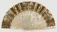 Fan    Made in Spain  1850-60    Artist/maker unknown, Spanish    Chromolithographed paper leaf with hand-colored lithographed insets; carved mother-of-pearl sticks and guards  10 1/2 x 20 inches (26.7 x 50.8 cm)