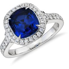 Blue Nile Cushion-Cut Sapphire and Diamond Halo Ring (933,945 INR) ❤ liked on Polyvore featuring jewelry, rings, blue nile, pave setting ring, halo diamond ring, 18k ring and sapphire jewelry