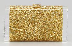 Edie Parker Lara Confetti Clutch Gold