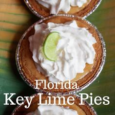 In 2006 the Key Lime Pie was named Florida's state pie. A creamy, tart filling with a graham cracker crust and whipped cream topping. Graham Cracker Crust, Graham Crackers, Lime Uses, Cubano Sandwich, Individual Pies, Key Lime Juice, Tart Filling, State Foods, Pudding Pies