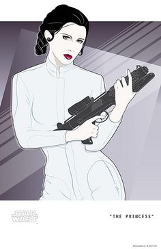 """""""The Princess"""" by Craig Drake, a Patrick Nagel-style Star Wars poster that came out as a very limited edition a couple years back. Wish I'd managed to grab one. Star Wars Film, Star Wars Poster, Star Wars Mädchen, Patrick Nagel, Carrie Fisher, Star Wars Kunst, Rad Tattoo, Pinup, Nagel Art"""