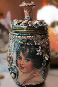Beach jar, bottle, altered, shabby chic, romantic, art, decorated