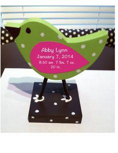 Bird nursery decor personalized wooden bird shelf by TheWoodenOwl, $18.00