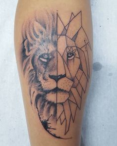 Lion realistic and geometric tattoo by monica_manara