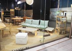 my woodness! sofa all suited up in cool mint, at minimal classic's showroom window, on Kifissias avenue, Marousi! Minimal Classic, Porch Swing, Outdoor Furniture, Outdoor Decor, Sun Lounger, Showroom, Solid Wood, Minimalism, Cushions