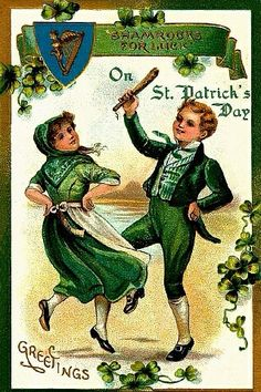 St Patrick's Day Dancing Irish Couple/Shamrocks for Luck/ EMB Vintage Postcard/ St Patrick's Day, Vintage Cards, Vintage Postcards, Vintage Images, Vintage Retro, Holiday Postcards, Vintage Clip, Holiday Cards, Holiday Decor