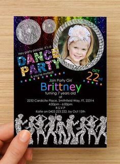 Disco Dance Party Invitation #1 -- PERSONALISED -- with photo