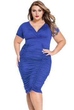Look this bodycon midi dress for big girls! It is packed with beautiful V neck in wrapover look and slight pleats detail. What makes this piece wonderful is its fabulous pleated skirt. Piles of exquis