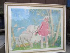 1928 Albert Hencke - Mary and her Little Lamb Original Lithograph Framed #Impressionism