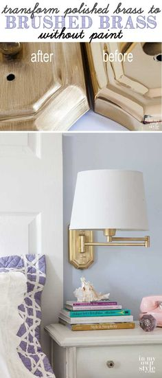 DIY - Hazlo tu mismo - How-to-update-bright-polished-brass-to-brushed-brass in 15 mins and only cents! Painted Furniture, Diy Furniture, D House, Brass Lamp, Tips & Tricks, Interior Decorating, Diy Decorating, Interior Design, Decoration