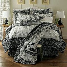 BLACK AND WHITE FRENCH TOILE BEDSPREAD | ... Toile comforter set black & white 2 shams bedskirt comforter and quilt