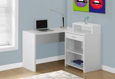 Computer Desk - White Corner w/ Storage - Monarch Specialty corner computer desk will be a stunning focal point in your contemporary home office. This simple and stylish piece features thick panels and clean lines, in a crisp white finis White Corner Computer Desk, Small Corner Desk, L Shaped Corner Desk, Corner Storage, Desk Storage, Corner Shelves, Extra Storage, Home Office Desks, Home Office Furniture