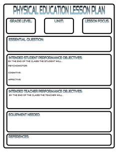 Lesson Plan Template Pe Lesson Plan Template PE Lesson Plan - Lesson plan template for pe