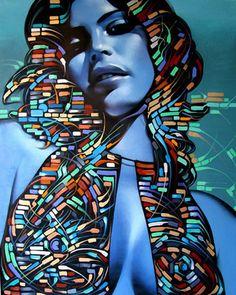 """Retina"" - El Mac {contemporary figurative art beautiful female head woman face portrait graffiti painting #noveltechnique) elmac.net"