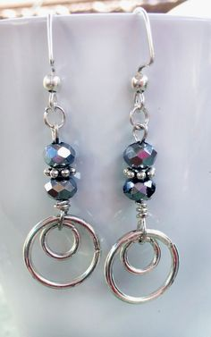Costume Jewelry Silver Toned Fashioned Rings with beads Earrings #Handmade #JewelrySilver
