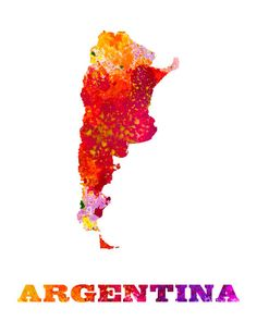 Paint Splashes Map of Argentina Art Print Home Office Decor