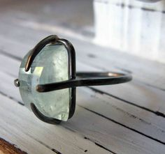 Rough Cut Aquamarine Ring