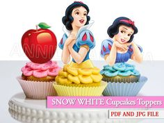 Snow White Cupcake toppers/ Snow White Printables/ by VICTORSTORE