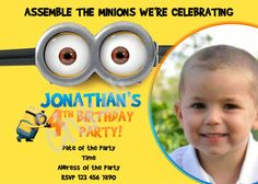 Despicable Me Minion Birthday Party Invitation on Etsy, $8.50