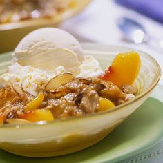This ginger-spiced fruit dessert is a breeze to make. Select peaches that have healthy golden-yellow skin with no tinges of green. The ripe fruit should yield slightly to gentle pressure.