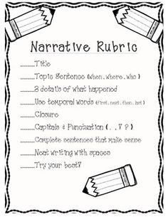 FIRST GRADE NARRATIVE WRITING RUBRIC - TeachersPayTeachers.com