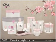 A set of cosmetics for decorating a bedroom / bathroom in a gentle French style  Found in TSR Category 'Sims 4 Decorative Sets'