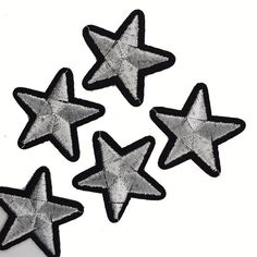 Customize and personalize your clothes, bags and textile projects with a touch of summer style with these Iron On Silver Embroidered STARS Patch Appliques for DIY Fashion Crafts .  QTY : 5 PCS Size: Size: 3.5 cm ********************************************** How to Apply: 1. Place adhesive side down in desired position on top of your project. 2. Press and hold the iron for 5-10 seconds on each section until the entire applique is bonded. Pressing time can vary depending on your iron and the…
