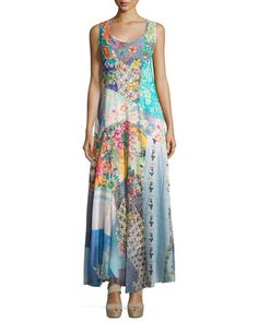 Sleeveless+Patchwork+Maxi+Dress+w/+Slip,+Multi+by+Johnny+Was+at+Neiman+Marcus+Last+Call.