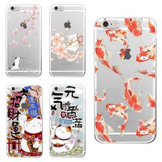 For iPhone 4S 5S 6S 6Plus 7Plus 7 SE 5C Samsung Galaxy Koi Fish Cherry Blossom Lucky Cat Japanese Pattern Soft Clear Phone Case