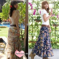 "Floral bohemian skirts....still love my skirts....(a reminder of the old ""El Tio's"" days when it was my uniform!)"