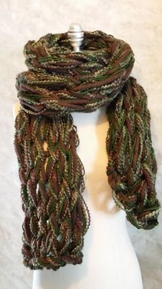 Earth Tones Arm Knit Scarf Oversized Mixed by jamiesierraknits, $34.00