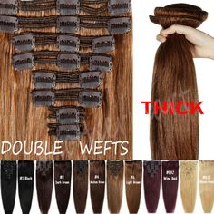 Elegant Thick Double Wefted Clip In Remy Human Hair Extensions Full Head US B4 in Health & Beauty, Hair Care & Styling, Hair Extensions & Wigs | eBay