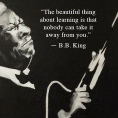 The beautiful thing about learning is that nobody can take it away from you. ~B.B. King ..*