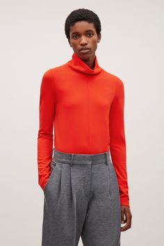 COS image 2 of A-line polo neck top in Orange