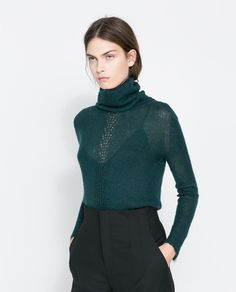 Image 2 of OPEN WORK CABLE KNIT MOHAIR SWEATER from Zara