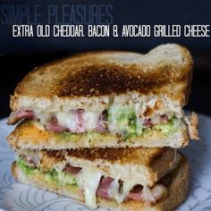 extra old cheddar, bacon & avocado grilled cheese @ eat halifax Ultimate Grilled Cheese, Grilled Cheese Avocado, Bacon Avocado, Grilled Sandwich, Grilled Cheeses, Sandwich Recipes, Dinner Sandwiches, Wrap Sandwiches, How To Make Cheese