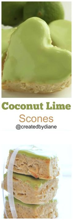 delicious flaky scones with the flavor of coconut and lime with a coconut glaze