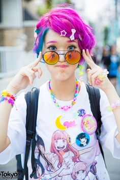 Harajuku Girl w/ Colorful Hair, Dempagumi.inc Dress, & Cosmic Magicals (Tokyo Fashion, I love the colour of her hair Japan Street Fashion, Tokyo Street Style, Tokyo Fashion, Harajuku Fashion, Kawaii Fashion, Lolita Fashion, Cute Fashion, New Fashion, Trendy Fashion
